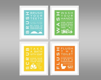 Childrens Kids Bathroom Art Print Set of (4) Brush, Wash Scrub, Flush, Kids Home Decor 5 x 7 Each Print Blue Green Yellow Orange - Unframed