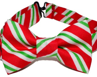Bow Tie - Red, Green and white Striped Bowtie