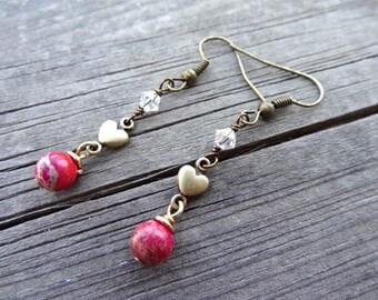 Bronze Red Sea Sediment Jasper Heart Love Crystal Bead dangle handmade Earrings Jewelry Earring Pink