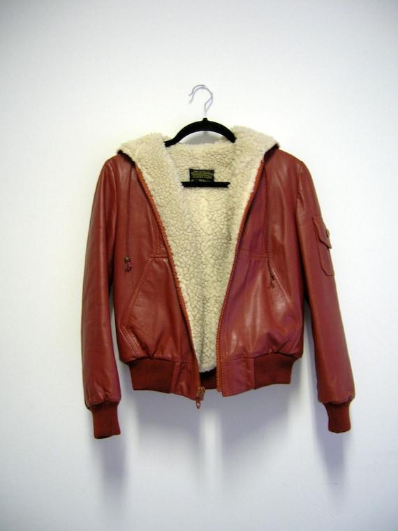 1970s Vintage Junior Bazaar- Genuine Leather- Rustic Orange Bomber Jacket with Hood