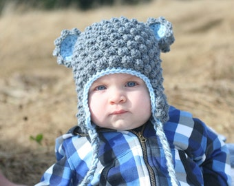 Crochet Bear Hat Baby Boys Girls