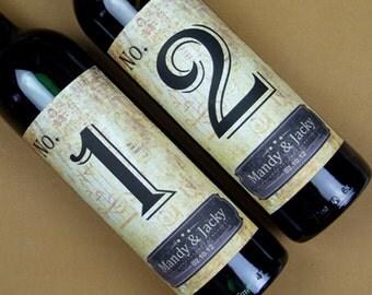 Custom Wedding Wine Label, Personalized wine Label, wedding Wine bottle label, Table number wine label