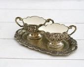 Vintage German Silver Plated Rose Patterned Milk Pourer and Sugar Bowl on Tray