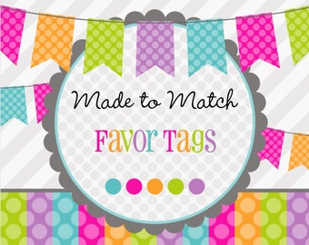 Made 2 Match: Printable Favor Tags -Birthday -Baby Shower -Bridal Shower -Wedding -Thank You Tags-Choose Any Theme From Our Shop