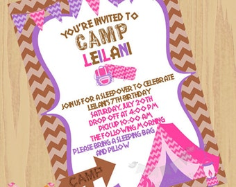 DIY Girl Camping Invitation -Glamcamping Invite - Personalized Invitation By Serendipity Party Shop