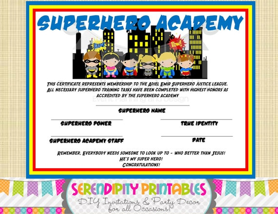 superhero kids collection  superhero certificate digital file