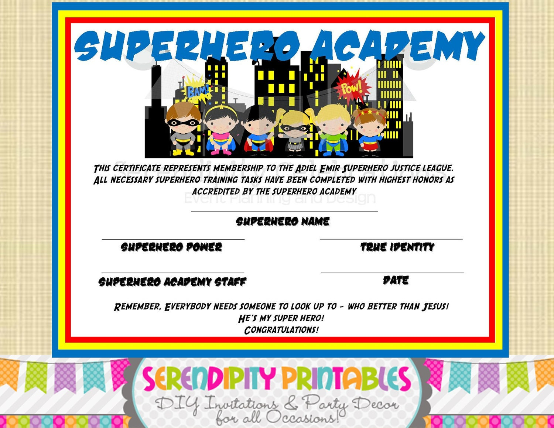 Superhero Kids Collection: Superhero Certificate Digital File