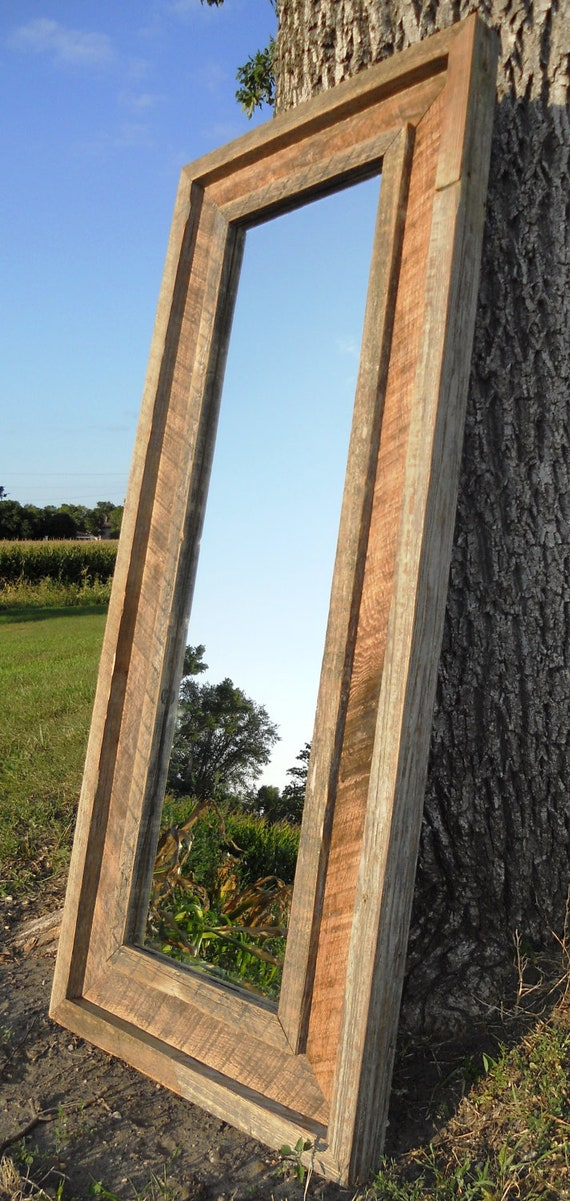 Reclaimed Barnwood Full Length Standing Beveled Mirror