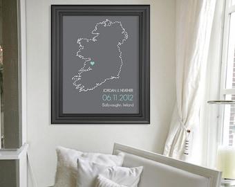 Ireland Silhouette Art Print // Customized Wedding Gift // Personalized Bridal Shower Gift // Custom Housewarming Gift // Anniversary Gift