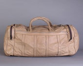 Tan leather duffle bag, carry on, overnighter, weekender