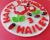 """6"""" Fondant edible Cake Topper - customized name, age and Happy Birthday"""
