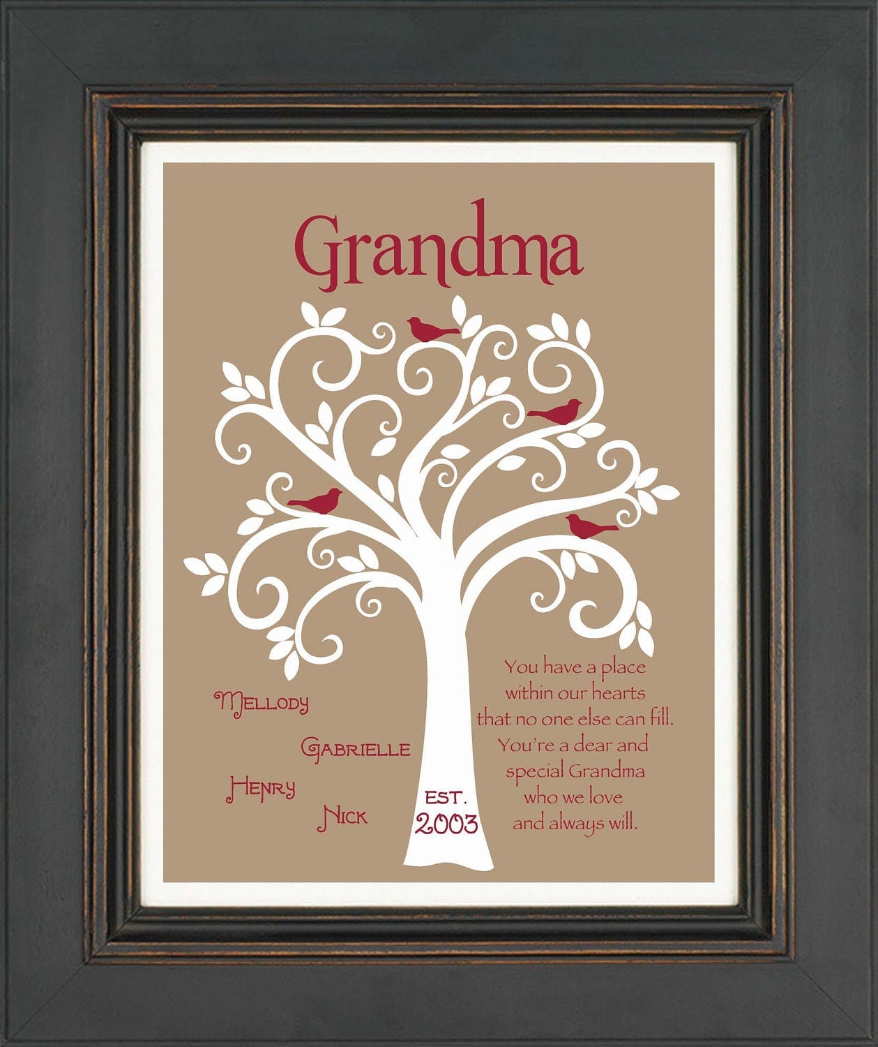 Grandma gift family tree 8x10 custom print personalized for Birthday gifts for grandma from granddaughter