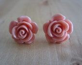 Rose Flower Silver Stud Earrings Peach Pink