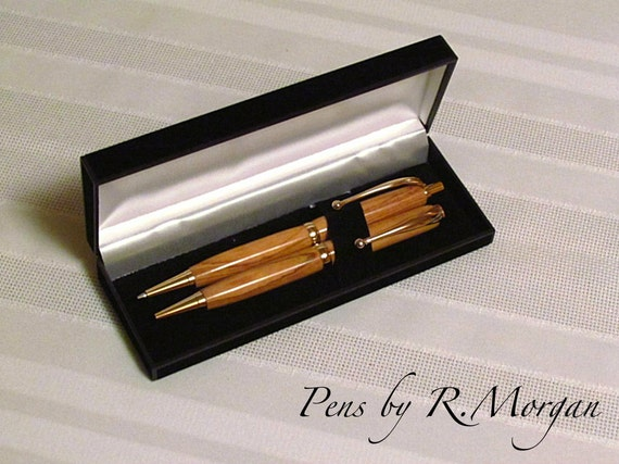 24k Gold pen and pencil set in olive wood