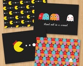 Ms Pacman and Ghosts Vintage Arcade Game Stationery Set - Postcards