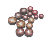 Polymer Clay set of round beads, unique spirals pattern in brown, gold, bronze and black, elegant flat beads in different size, set of 14