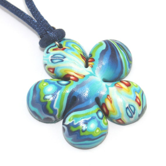 Flower shaped necklace, polymer clay pendant in blue turquoise, green red and orange, elegant gift for women, girls and teens