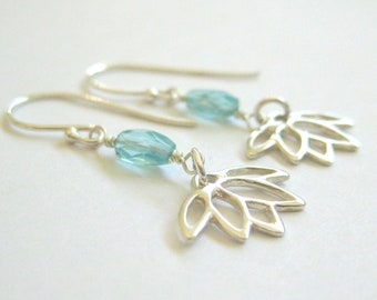 Silver lotus and blue apatite earrings