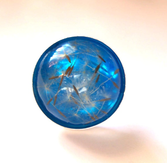 Real Dandelion Seed Resin Domed Ring