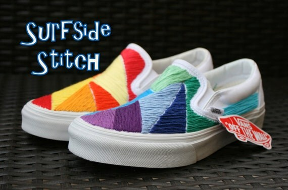 Custom Multi-Colored Hand Stitched Vans Shoes