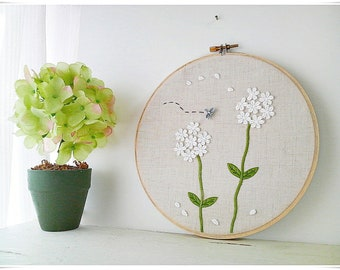 Embroidery wall art - White Flower garden