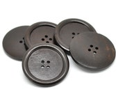 Dark Brown Colour Round Extra Large Wood Four Hole Button for Sewing Knitting Crocheting Craft Jewelry Scrapbooking Art Clothes 4 Pack 5 cm