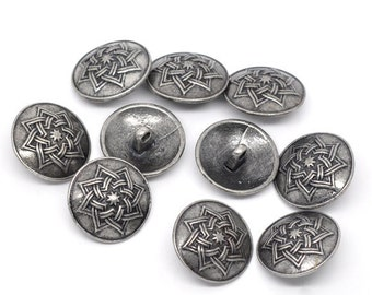 8 - Silver Tone Metal Shank Buttons 20 mm  Design No.3 - Pack of 8 MB07