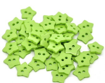 20 STAR Shaped Plastic Buttons Two Hole 15mm GREEN  Wholesale Buttons - 20 Pack PB06