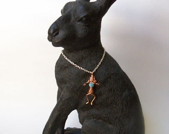 Copper wire wrapped dancing girl necklace