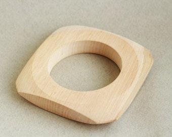 Wooden bracelet unfinished square - natural eco friendly