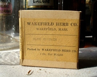 "Antique Wakefield Herb Co. ""Blue Vervain"" Unopened Herb Box Early 1900s - Kitchen Accent Decoration Vampire Repellant"