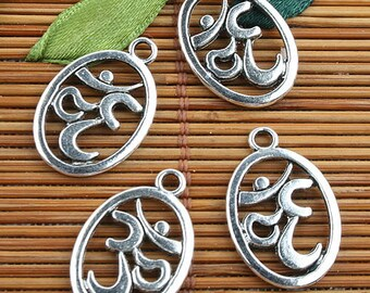 Alloy metal Tibetan Silver color 2sided oval Simple  charms 38pcs EF0099