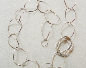 Avant garde necklace, irregular, wavy circles chain necklace, sterling handmade, made to order