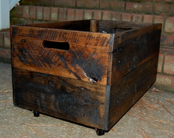 Large Wooden Crate/ Vintage Style/ Rolling Crate/ Reclaim Wood