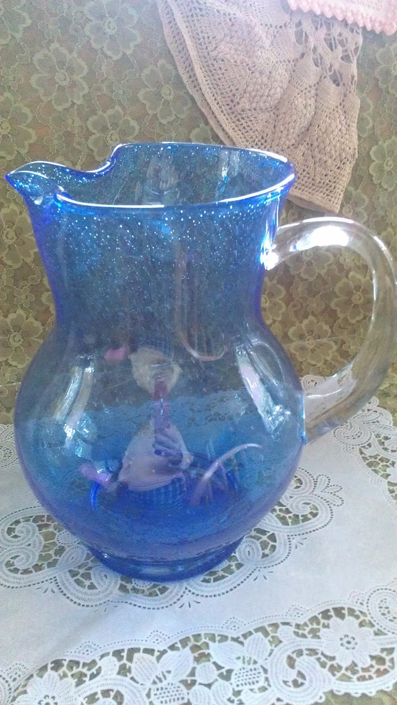 """Large vintage cobalt blue pitcher with clear """"D style"""" handle"""