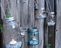 Hand Made Mason jar Tea Light or Votive Lid -  With Chain for Hanging - Fits All Standard Mason Jars