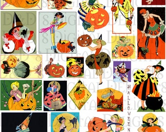 Collage Sheet Halloween Art Deco Vintage Download Digital 1920s  Bridge Tallies Vintage Digital Illustration.