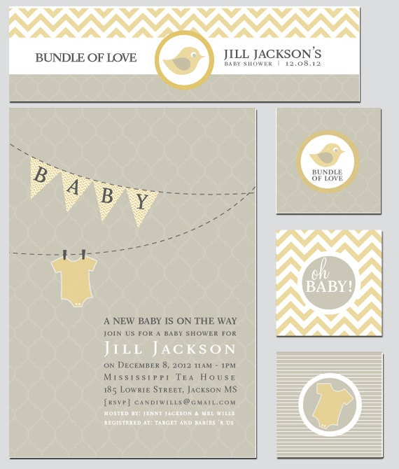 Pennant banner baby shower invitation and decoration by for Baby shower function decoration