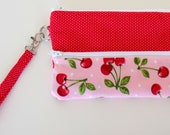 Cherry and Red Pin Dot Gadget Pouch or Pencil Pouch Wristlet