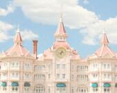 Disneyland, Paris - 8x10 Charming Photograph, Nursery Decor - Disney, Princess, Hotel, Blue Sky, Clouds, Pink, Soft, Pastel, Light, Sweet