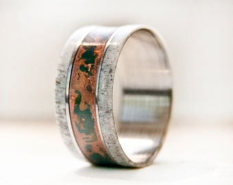 Mens Wedding Band w/ Antler and Patina Copper Ring - Staghead Designs