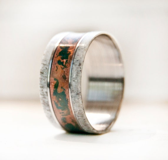 Mens Wedding Band W Antler And Patina Copper Ring