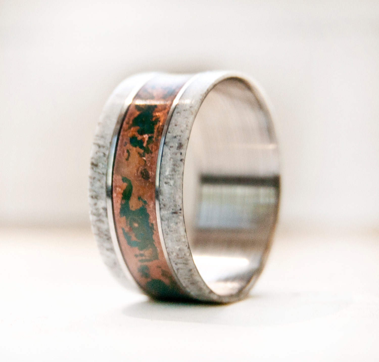 Men39s wedding band w antler and patina copper ring for Ring mens wedding