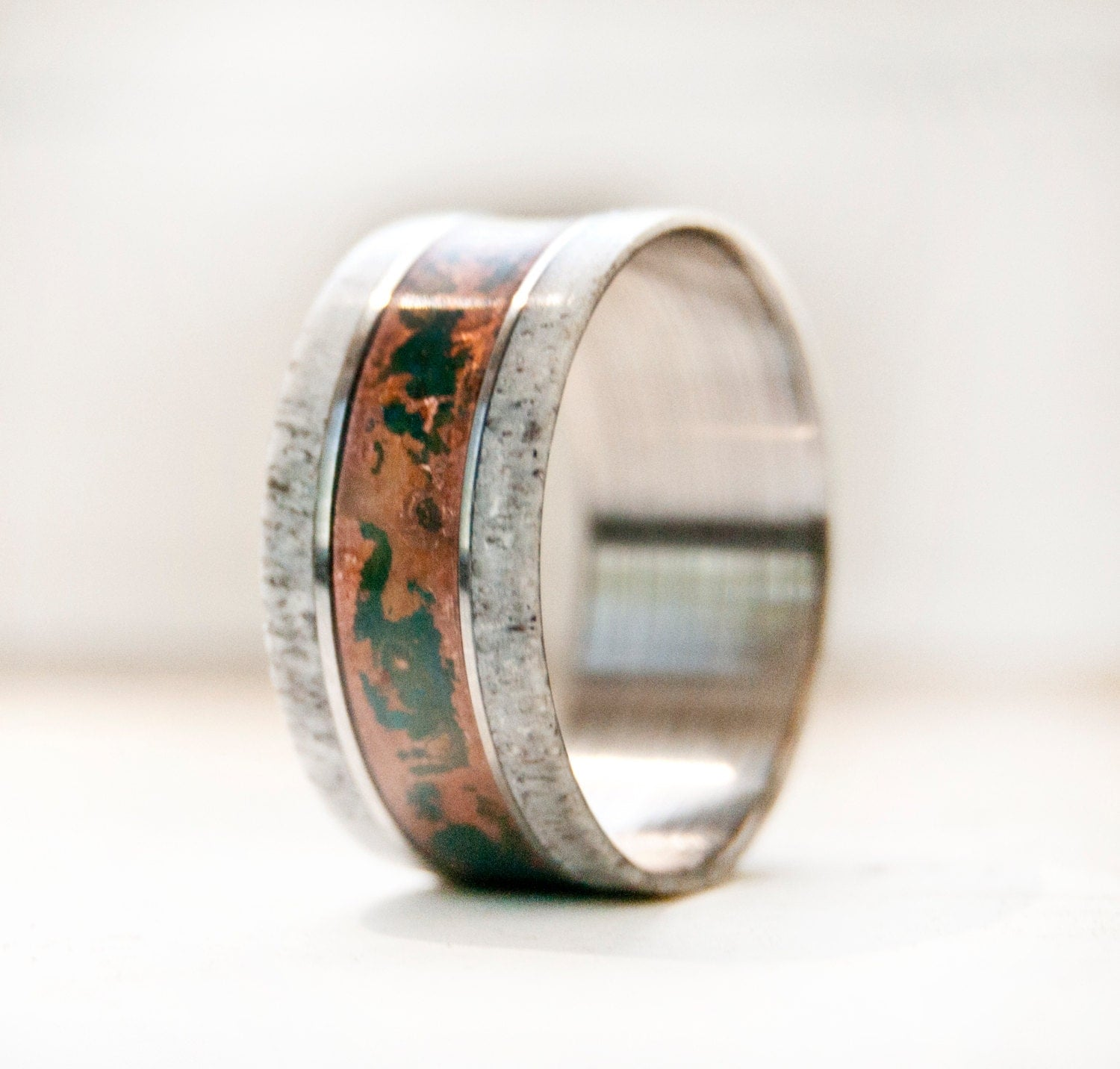 Men39s wedding band w antler and patina copper ring for Mens copper wedding rings