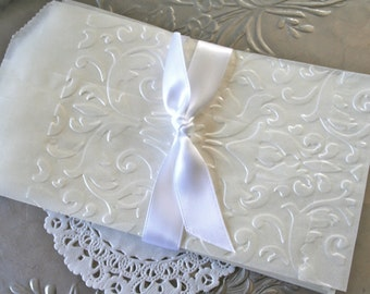 25 Glassine Bags Damask Lace Embossed