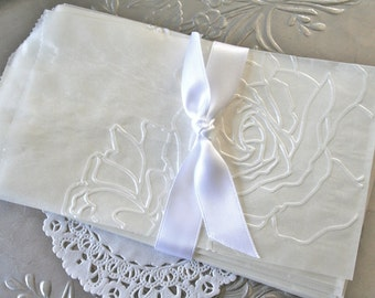25 Glassine Bags Embossed with Rose