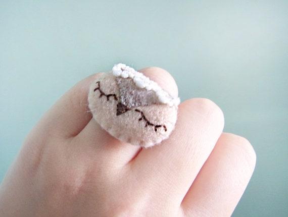 Felt ring - Owl ring - Kawaii ring - Felt accessories -  READY TO SHIP