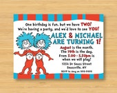 Dr Seuss Thing 1 and Thing 2 Invitation - Printable - 5 x 7 Twins Birthday Party Cat in the Hat