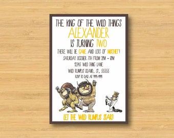 Where the Wild Things Are Invitation - Printable - 5x7 Birthday Party