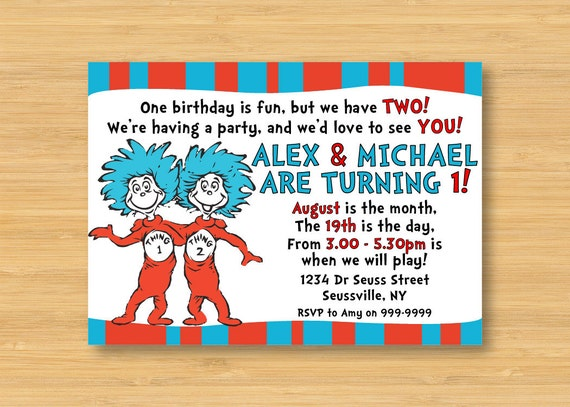 dr seuss thing 1 and thing 2 invitation printable 5 x 7